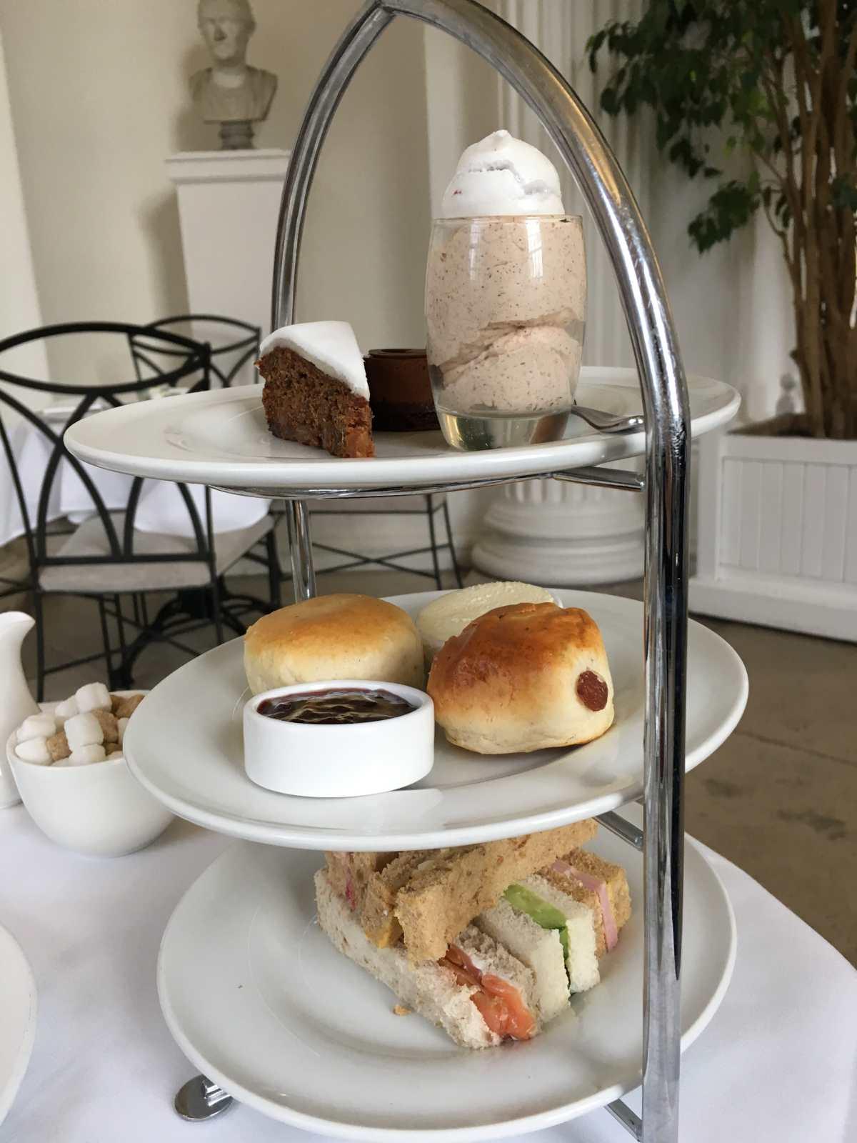 Afternoon tea, pastries, the Orangery, Kensington gardens, LondonAfternoon tea, pastries, the Orangery, Kensington gardens, London