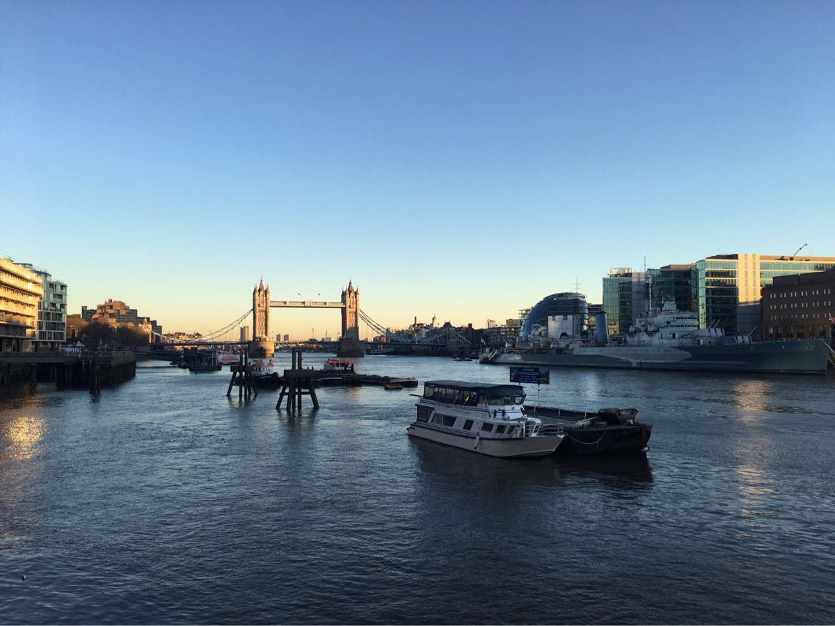 River Thames, Tower bridge, London, City Hall, boat, sun