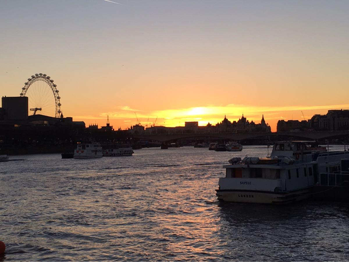 Sunset, river Thames, London eye, boat, whitehall, London