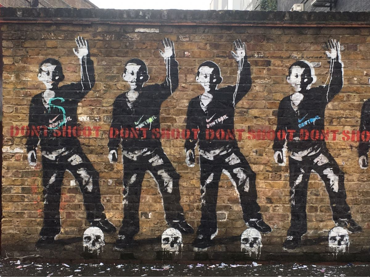 Bambi, artist, street art, Don't shoot, Don't do it, Rivington Street, London