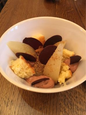 Aster Victoria, Café, London, poached pear, chocolate ganache